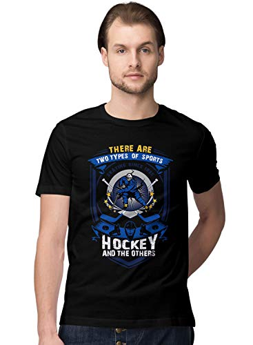 BLAK TEE Hombre Two Types of Sports Ice Hockey and Others Slogan Camiseta L