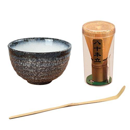 Juego de 3 Tetera Batidora de Té Matcha Batidor Tetera de Bambú Set de Chasen