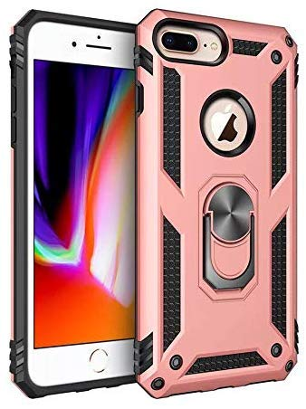 CASEitNOW - Compatible with iPhone 8 Plus / 7 Plus - Magnetic Shockproof Adsorption Hard Armor Ring Holder for Car Mount with Kickstand Phone case for iPhone 8 Plus / 7 Plus (Rose Gold)