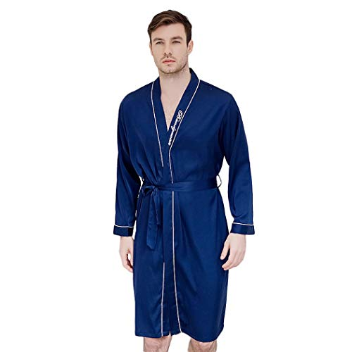 GJF zijden satijnen nachthemd mannen zomer dunne sectie lange mouwen badjas pyjama lente en herfst los eenvoudige gewaad