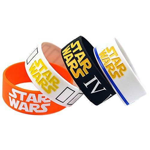 Haihf Siliconen armbanden, bijzonder comfortabele silicone armbanden voor volwassenen en kinderen, duurzame en flexibele rubberen armbanden, cadeau voor liefhebbers van film, verpakking van 6 stuks