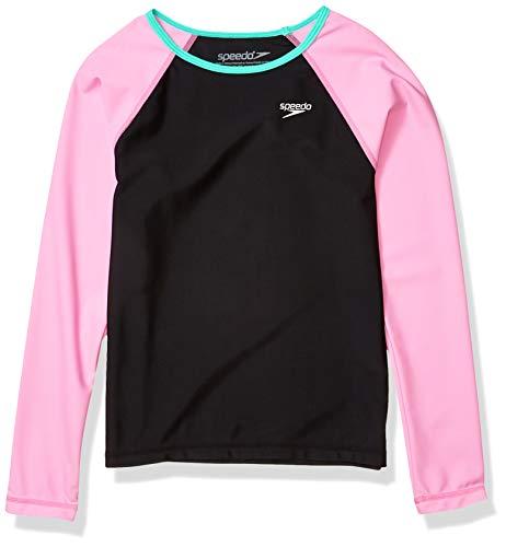 Speedo UV-Schwimmshirt für Mädchen, langärmelig, Rashguard, Mädchen, Rashguard, Uv Swim Shirt Long Sleeve Rashguard Printed, Fuchsia pink, X-Small