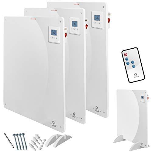 KESSER® 3x Infrarotheizung 425 Watt mit Fernbedienung ✓ LCD-Display Digital ✓ Timer ✓ Wandheizung ✓ Infrarot ✓ Heizung ✓ Heizkörper   Heizpaneel   Inkl.Standfüßen NEU  