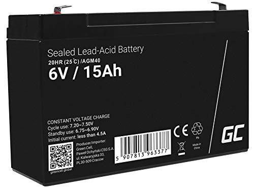 Green Cell® AGM 6 V 15 Ah batteri VRLA blybatteri blybatteri ersättningsbatteri batteri cykelfast obemannad leksak | elektrisk leksaks| larm | nödström | barnfordon | barnfyrhjuling