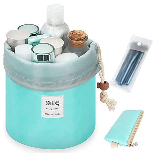 Travel Makeup Bag Barrel Cosmetic Bags for Women Large Bucket Toiletry Bag Storage Pocket Portable Collapsible Drawstring Travel Organizer Bag Makeup Organizer ( Light Blue)