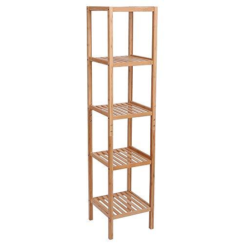 HNWNJ Estante de almacenamiento para sala de estar, cocina, estante de bambú, 5 capas, estante de almacenamiento multifuncional, 146 x 33 x 33 cm, estante de baño color tronco