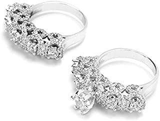Women's Diamond Ring 18K White Gold Plated Cubic Zircon Ring Size 9