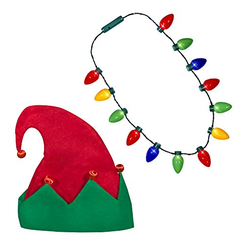 Windy City Novelties Ugly Sweater Christmas Party Kit - Holiday LED Elf Hat + LED Christmas Bulb Necklace Combo (LED Elf Hat + Necklace)