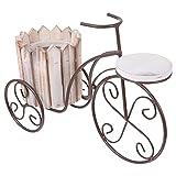 Soporte para plantas de bicicleta, soporte de metal para macetas de hierro forjado, para jardín, patio, oficina, balcón, decoración interior e interior, color gris