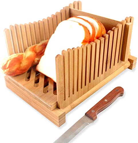 bread slicers for homemade bread, Bamboo Wood Foldable Bread Slicer Compact Thickness Adjustable Bread Slicing Guide with Crumb Catcher Tray for Homemade Bread, Loaf Cakes, Bagels
