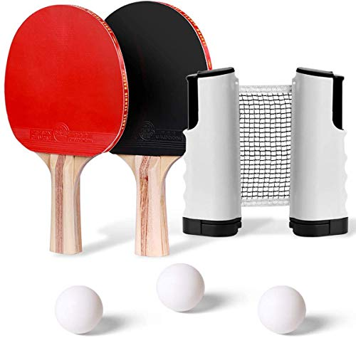 Retractable Tabletop Tennis Game Set, Play Almost Anywhere with Expandable Net, 2 Paddles and 3 Balls,with Color Box Packaging Suitable for Gift
