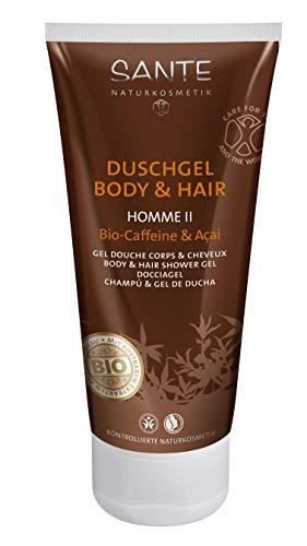 SANTE Naturkosmetik Homme II Männer Duschgel Body & Hair 2in1 Bio-Caffeine & Açai für Herren, Anregend & Vitalisierend, Vegan, Men Care 1 x 200ml