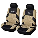 AUTOYOUTH Tire Track Detail Seat Covers Car Interior Accessories Universal Fit - 4PCS, Beige