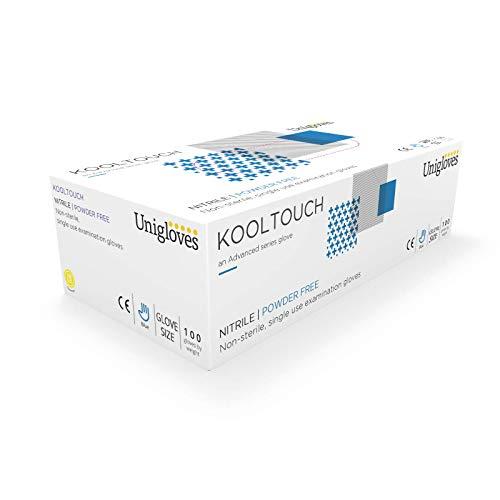 Unigloves gm0041Kool Touch sin polvo guantes de nitrilo, talla XS, color azul (Pack de 100)
