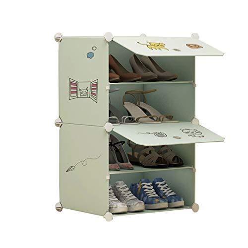 Xiuyun Armoire À Chaussures Debout Dessin Animé Photos Cube Modulaire Verrouillage Organisateur De Chaussures pour Le Placard Couloir Chambre (Color : A, Size : L)