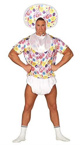 Fiestas Guirca Baby Kostüm Für Erwachsene inkl. Oberteil, Lätzchen, Windel, Kopfbedeckung - Größe L 52 – 54 - Riesen Babykostüm Erwachsene, Karneval, lustige Herren Fasching Kostüme für Erwachsene