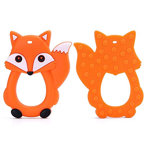 Fine Baby Teething Toys, Easy to Hold, Soft and Highly Effective Cartoon Foxes Teether - Best Unique Soother Teething Toy Pendant (Orange)