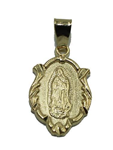 Diamantados of Florida Virgen De Guadalupe Medalla enchapada en Oro de 18 Quilates con Cadena de 20 Pulgadas
