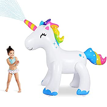 AQUAJOY Unicorn Sprinkler Water Toys Inflatable Unicorn Outdoor Yard Sprinkler for Kids and Adults