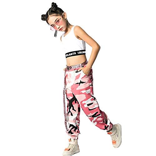 LOLANTA 2 Pezzi Ragazze Hip Hop Street Dance Solo Set, Crop Tank Top + Pantaloni Jogger mimetici, Rosa, 180
