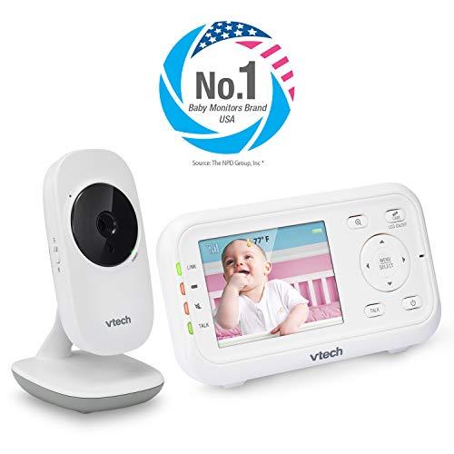 "VTech VM3252 Video Baby Monitor with 1000ft Long Range, Auto Night Vision, 2.8"" Screen, 2-Way Audio Talk, Temperature Sensor, Power Saving Mode, Lullabies and Wall-mountable Camera with bracket Monitors"