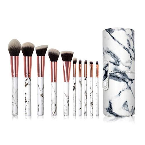 Ckssyao Pinceaux Marbre synthétique Pinceau Fond de Teint 10Pieces Haut de Gamme Motif Outils cosmétiques Beauté pour Set de Maquillage Professionnel des Femmes,Blanc