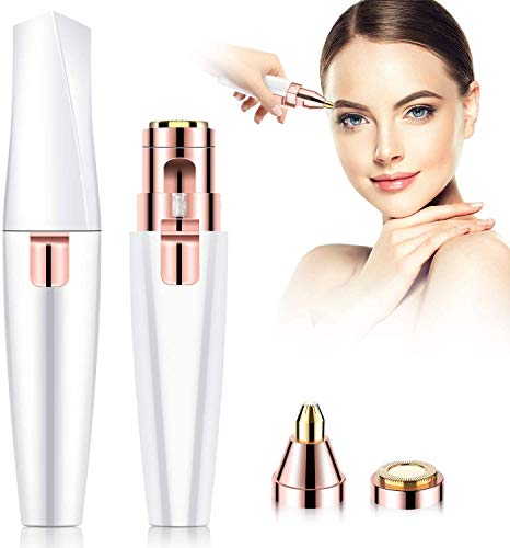 [2020 Newest] Rechargeable Eyebrow Trimmer Facial Hair Remover,BEENLE 2 in 1 Painless Eyebrow Razor Epilator Facial Hair Trimmer for Women,Waterproof & East to Use