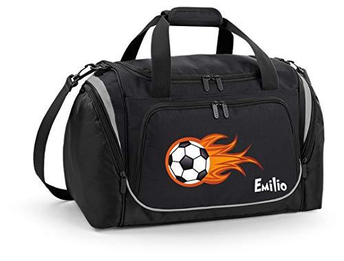 Mein Zwergenland Sporttasche Kinder personalisierbar mit Schuhfach, Kindersporttasche 39L mit Name und Feuerball Bedruckt in Schwarz