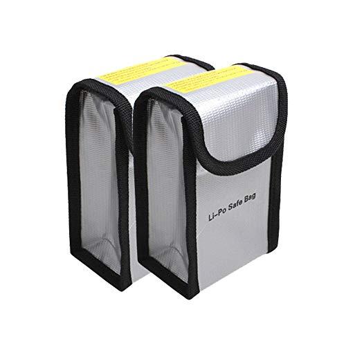 Borsa per batteria per ricarica e stoccaggio sicuri, LiPo Guard Sacchetto Batterie Protezione Borse per DJI Phantom 3/4, Giocattoli Auto Telecomando Drone Vehicle, 150x90x55mm, 2 Pezzi