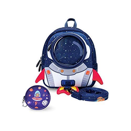 yisibo Kids Backpacks Harness,Toddler Backpack Rocket for Boys Girls,Safety Anti-Lost Strap Rucksack with Reins,Age 1-3(Rocket-Blue)