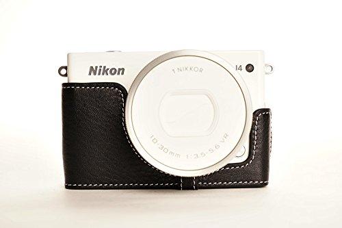 ニコン Nikon 1 J4用本革カメラケース ブラック、ブラウン (レンズカバー付ケース, ブラック)