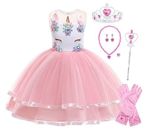 WonderBabe menina arco-íris unicórnio princesa vestido baile vestido sem mangas floral vestido de festa infantil menina tutu vestido infantil fantasia cosplay conjunto de 6 peças Rosa+P090-140