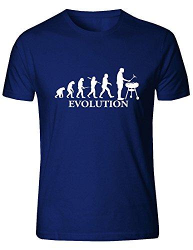 T-Shirt da Uomo Evolution Barbeque. (Blu, Large)