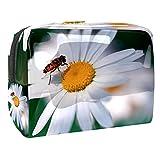 Neceser Viaje Hombre y Mujer Abeja Flor Blanca Pequeño Bolsas de Aseo Impermeable, Neceser Maquillaje Pack Neceser Baño Toiletry Kit, Cosmético Organizadores de Viaje 18.5x7.5x13cm