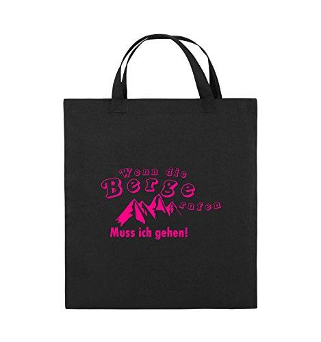 Comedy Bags - Wenn die Berge rufen - Berge - Jutebeutel - Kurze Henkel - 38x42cm - Farbe: Schwarz/Pink