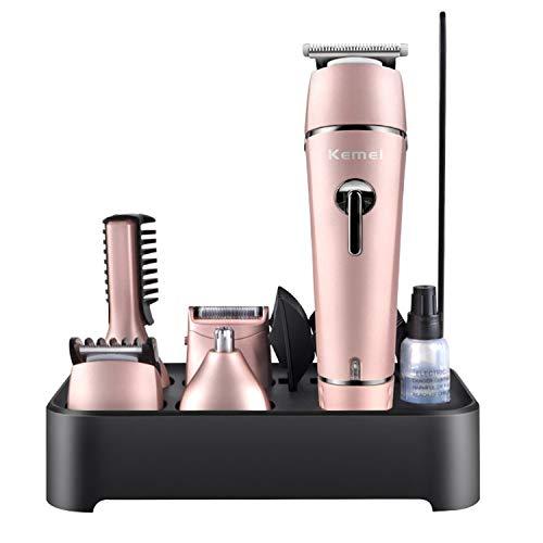 TXPDD Elektrische tondeuse, volledig wasbaar oplaadbare accu-styling gereedschap scheermachine, elektrisch scheerapparaat baardtrimmer roze