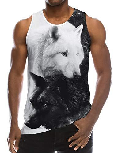 Goodstoworld Tank Top Hombre Camiseta Sin Mangas Impresión 3D Lobo Negro Playa Sleeveless Shirts Gracioso Sport Chaleco S