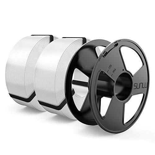 SUNLU Filamento PLA 1.75mm MasterSpool, PLA Filamento de Impresora 3D Reutilizable Spool, 1kg Spool Paquete de 2, Blanco+Blanco