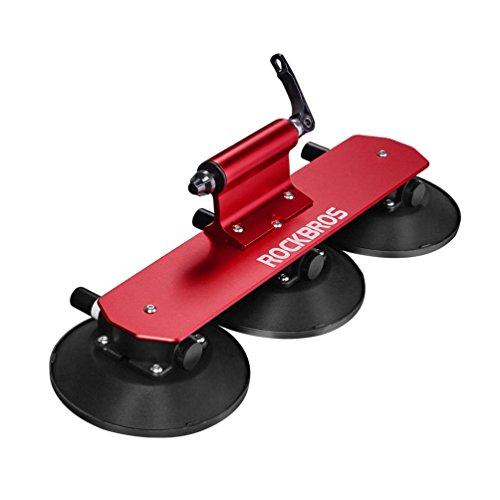 ROCKBROS Portabicicletas Techo de Coche para 1-3 Bicicletas Ventosa Liberación Rápida Soporte de Bici para Viaje, Negro Rojo