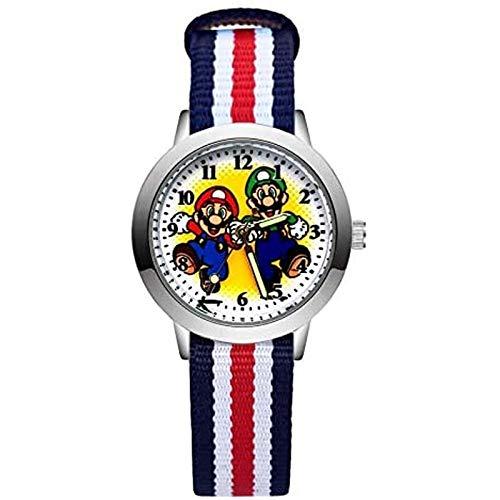 buyaoku Reloj de Super Mario de Dibujos Animados Lindo y Hermoso Reloj de Estilo Mario, Estudiante, niña, niño, Cuarzo, Correa de Nylon