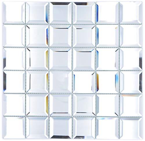 Mosaik Fliese Glasmosaik Quadrat Quadrat Mirror Metro Spiegelmosaik für WAND KÜCHE Wandverblender Fliesenspiegel Verkleidung | 10 Matten