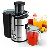 Centrifugal Juicer, Bagotte 1000W Juice Extractor, 85mm Wide Mouth Juicer Machines for Whole Fruit Vegetable, Juicer Recipe Book & Brush, Anti-drip, Dual-Speed, BPA-Free, Easy to Clean