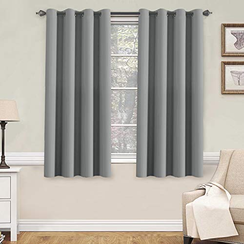 H.VERSAILTEX Blackout Grey Curtains for Bedroom/Living Room, 52' Wide x 63' Long Each Panel,Grommet Top (Set of 2 Panels)
