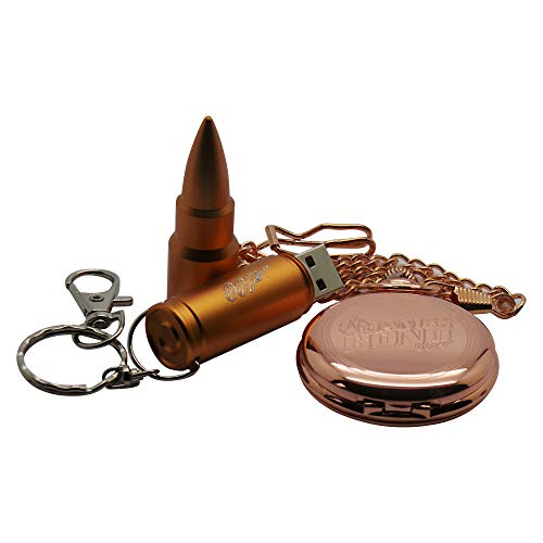 James Bond 007 Rotgoldene Taschenuhr und goldener Bullet-Memory-Stick-Schlüsselanhänger, Geschenk-Set in Etui