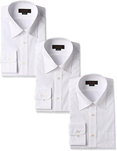 [スティングロード] 長袖 3枚セット レギュラーカラー 白ワイシャツ 形態安定 ノーアイロン 綿高率混 レギュラーフィット MA1112-AM-3 メンズ ホワイト 首回り41cm裄丈82cm
