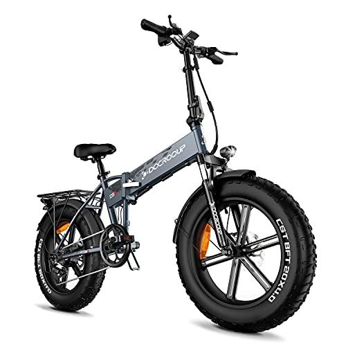 Docrooup DS2 Bicicleta eléctrica con neumáticos Gruesos, Bicicleta eléctrica Plegable de 750...