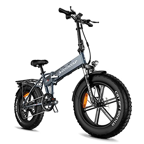 Bici elettriche pieghevoli per adulti, e-bike da 20 pollici con 750W 48V 12Ah e 5 modalità di guida bici elettrica in città, neve, spiaggia, bici (pneumatici 4.0 grassi) (grigio)