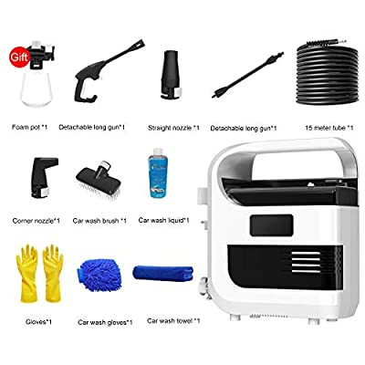 QXMEI Power Pressure Washer Waterproofing System 3-in-1 Nozzle Portable Electric High Pressure Cleaner 50bar 3L / Min Flow 18V Pressure Cleaning Machine,White-E from QXMEI