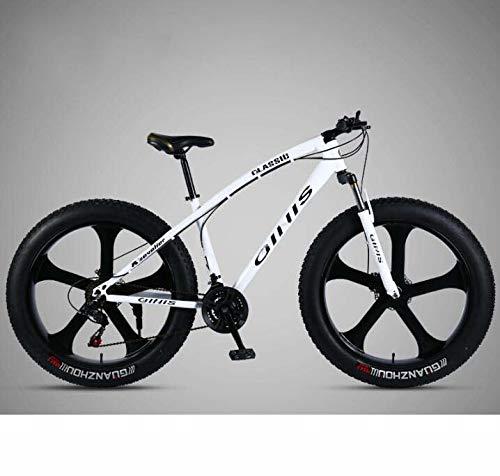 GASLIKE Bicicleta de montaña Bicicleta, 26 × 4.0 Pulgadas Fat Tire MTB Bike, Hombres Mujeres Hardtail Mountain Bike, Horquilla Delantera amortiguadora y Freno de Doble Disco,Blanco,30 Speed