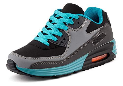Fusskleidung Unisex Damen Herren Sportschuhe Übergrößen Laufschuhe Turnschuhe Neon Sneaker Schuhe EU Schwarz Blau Grau 42